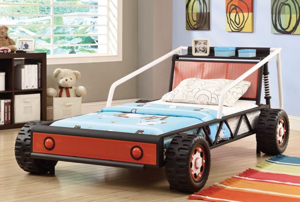 Casual Black Red Metal Twin Race Car Bed CST-400700