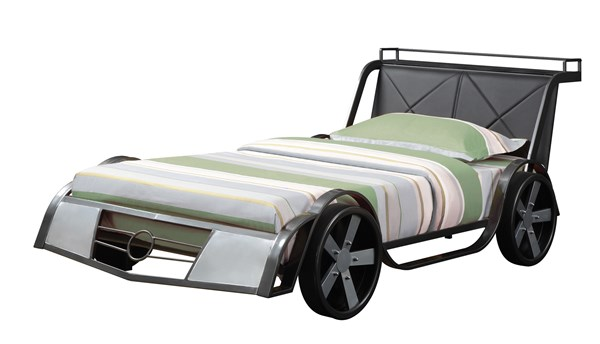 Rogan Transitional Black Silver Metal Leatherette Twin Race Car Bed CST-400701
