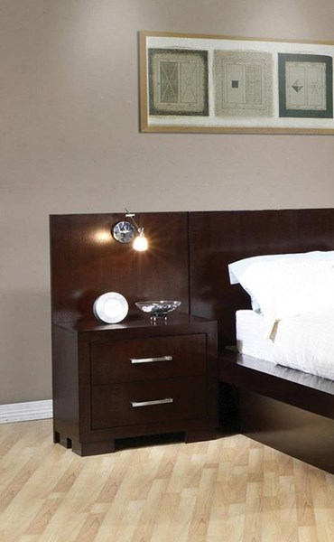 Jessica Contemporary Cappuccino Night Stand W/Back Panel CST-200710-200712