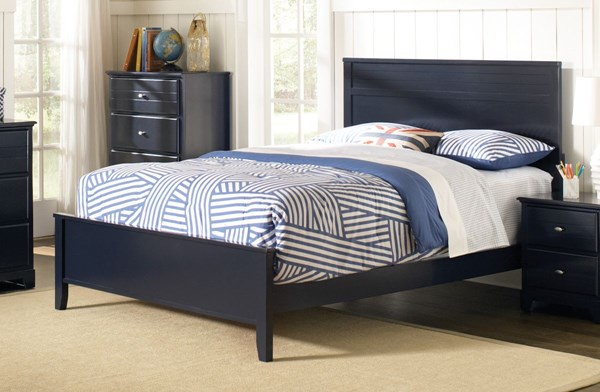 Ashton Navy Blue Wood Twin Panel Bed The Classy Home