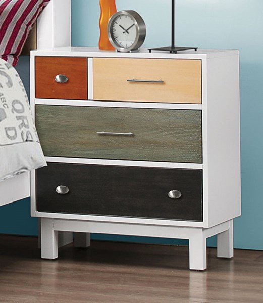 Lemoore White Wood Unique Knobs Nightstand CST-400792
