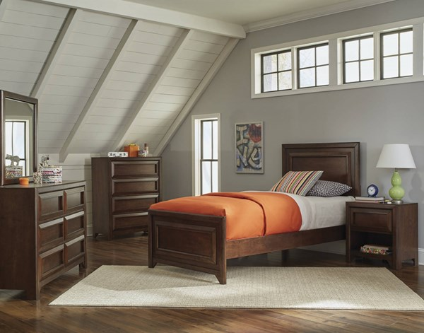 Greenough Transitional Maple Oak Wood 2pc Bedroom Set W/Full Panel Bed CST-40082-KBR-S2