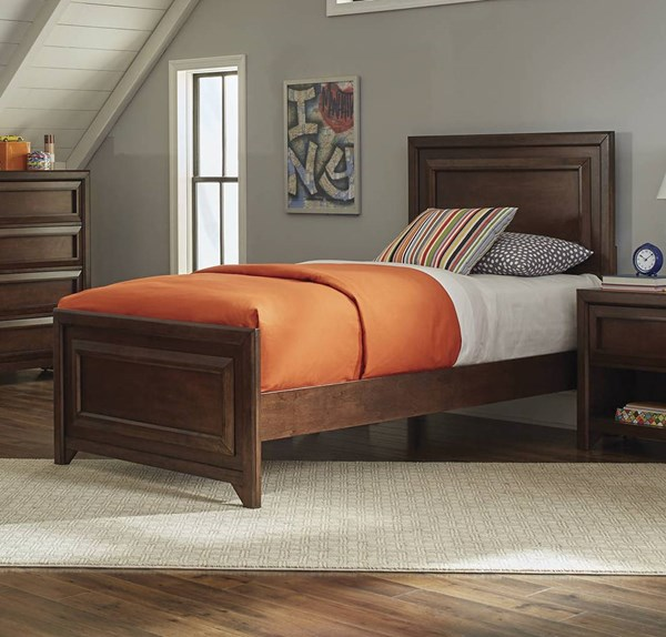 Greenough Transitional Maple Oak Wood Twin Panel Bed CST-400821T