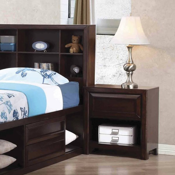 Greenough Transitional Maple Oak Wood USB Outlets Nightstand CST-400822