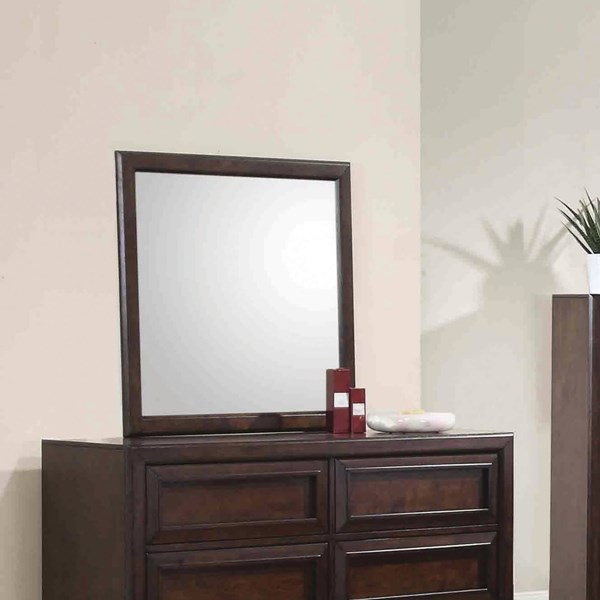 Greenough Transitional Maple Oak Wood Beveled Mirror CST-400824
