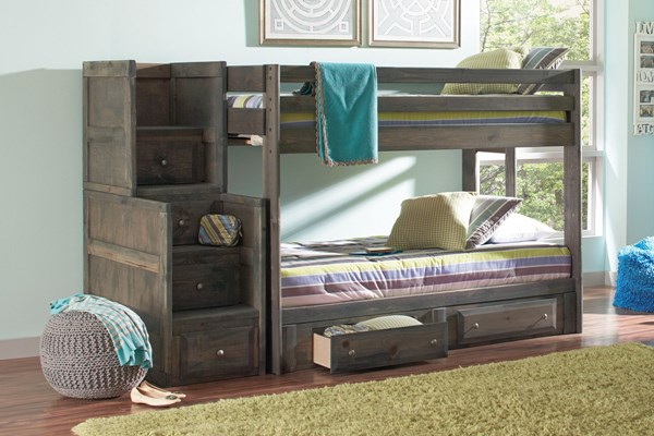 Wrangle Hill Twin/Twin Bunk Bed W/Underbed Storage & Staircase Chest CST-400831-32-34