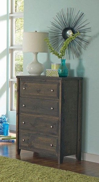 Wrangle Hill Gunsmoke Wood Round Knobs 4 Drawers Chest CST-400835