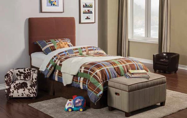 Dillon Transitional Chocolate Wood Fabric Kids Bedroom Set CST-405013T-KBR