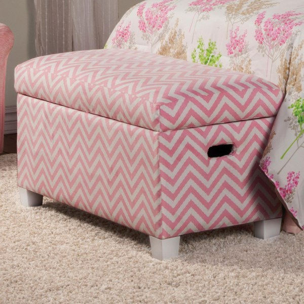 Charlotte Traditional Pink Wood Fabric Storage Bench CST-405023