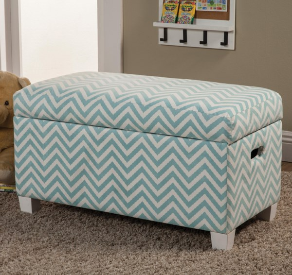 Blue White Wood Fabric Armless Storage Bench CST-405027