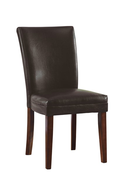 2 Casual Brown Wood Leatherette Parson Chairs CST-4077BRN