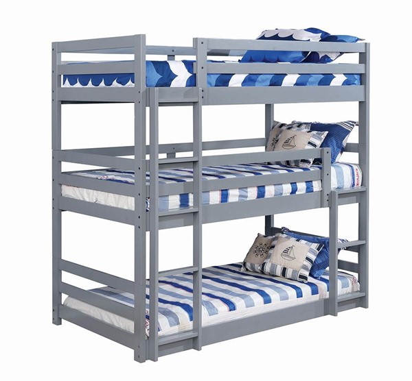 Coaster Furniture Sandler Grey Triple Twin Bunk Bed CST-410302