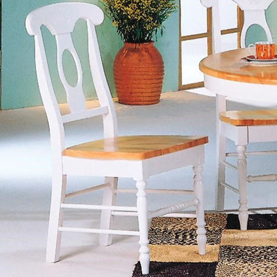 2 Casual Natural White Wood Armless & Foot Rest Side Chairs CST-4117
