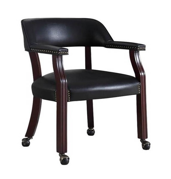 Coaster Furniture Cappuccino Black Faux Leather Nailhead Office Chair CST-415K