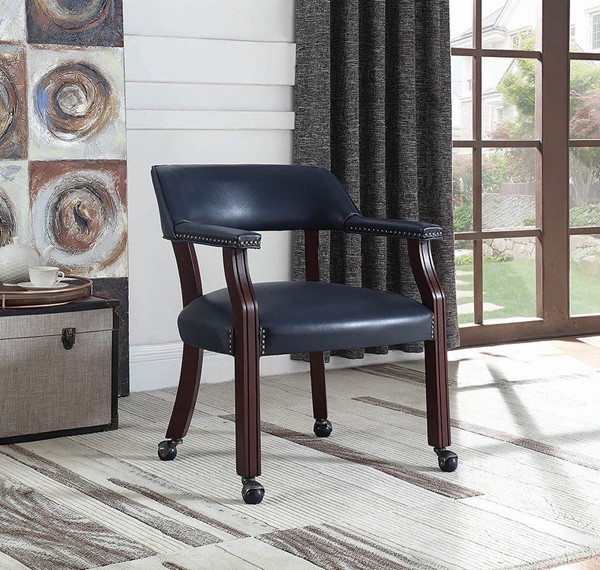 Coaster Furniture Cappuccino Blue Faux Leather Nailhead Office Chair CST-415N