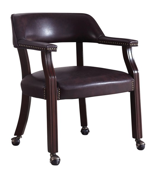 Coaster Furniture Cappuccino Brown Faux Leather Nailhead Office Chair CST-417BRN