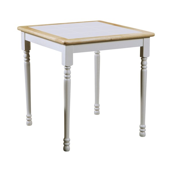 Coaster Furniture Dinettes Natural White Square Dining Table CST-4191