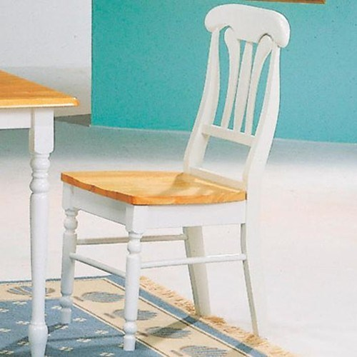 2 Casual Natural White Wood Slat Back & Foot Rest Side Chairs CST-4222