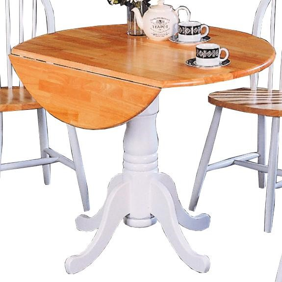 Natural White Wood Drop Down Leaf Dining Table CST-4241