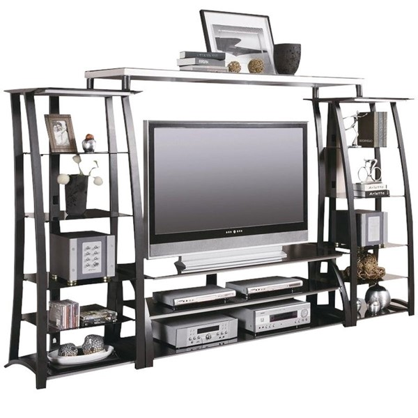 Coaster Furniture Black Silver Metal Entertainment Center CST-G700681