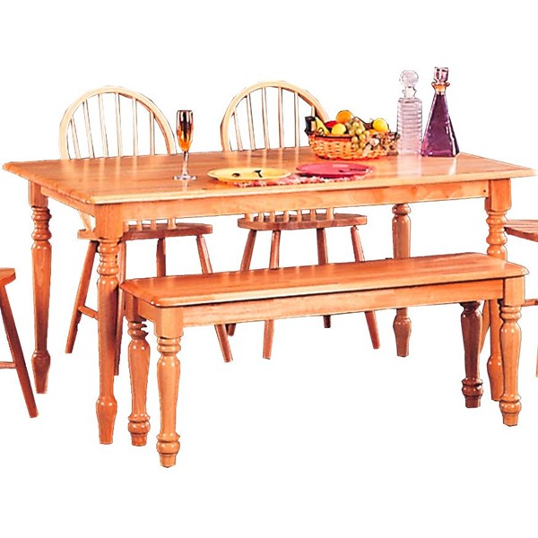 Casual Natural Wood Solid Top Rectangle Dining Table CST-4361