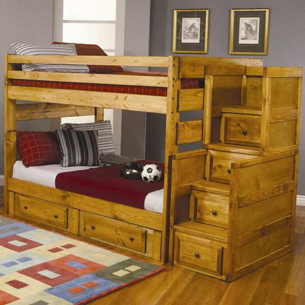 Wrangle Hill Transitional Amber Wash Wood Bunk Bed Set CST-46009