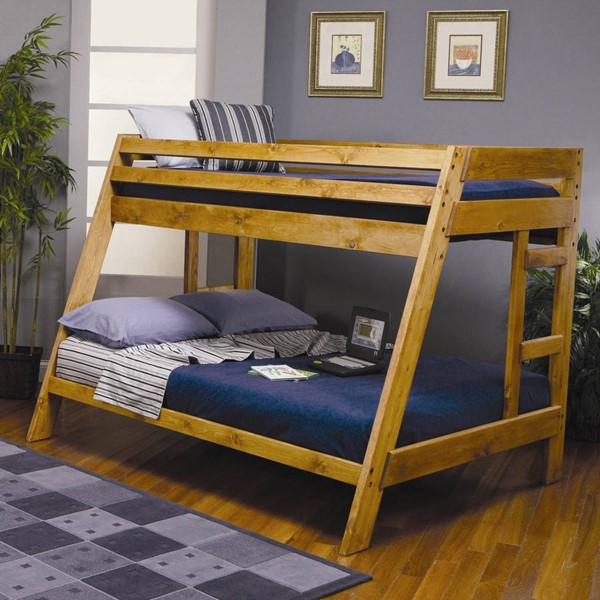 Wrangle Hill Amber Wash Wood Ladder Twin/full Bunk Bed CST-460093
