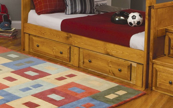 Wrangle Hill Amber Wash Wood Metal Knobs Trundle CST-400837