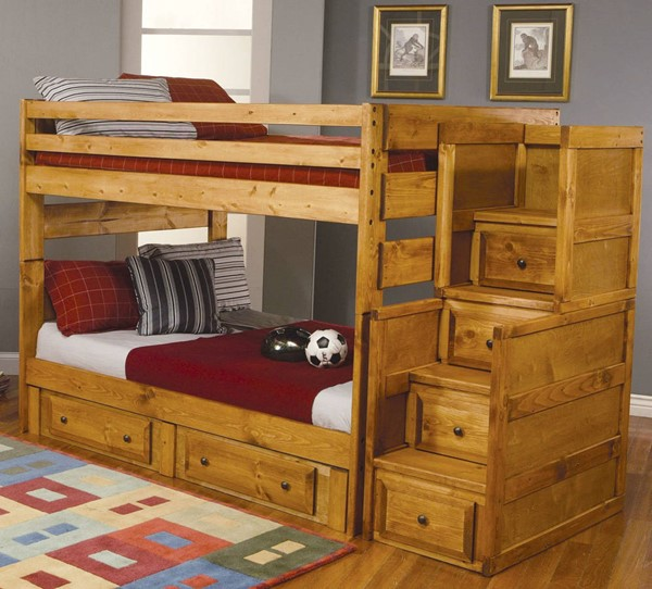 Coaster Furniture Wrangle Hill Amber Wash Full Bunk Bed With Stair And Underbed Storage CST-460096-460097