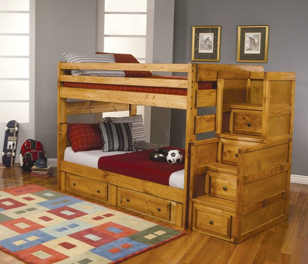 Amber Wash Wood Full/Full Bunk Bed w/Trundle CST-460096-400837