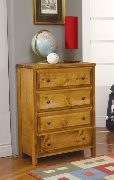 Wrangle Hill Transitional Amber Wash Wood 4 Drawer Chest CST-460099