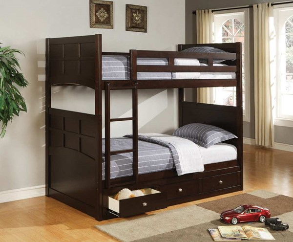 Coaster Furniture Jasper Cappuccino Twin Over Twin Storage Bunk Bed CST-460136