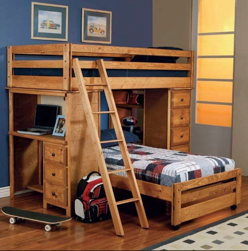 Wrangle Hill Transitional Amber Wood Loft Twin/Twin Bunk Bed CST-460141