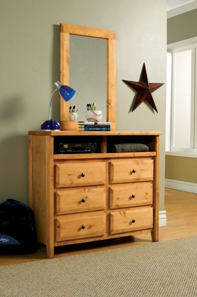 Wrangle Hill Transitional Amber Wash Wood Media Dresser & Mirror CST-460143-44