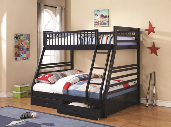 Cooper Navy Blue Twin/Full Bunk Bed W/Underbed Drawers Storage CST-460181