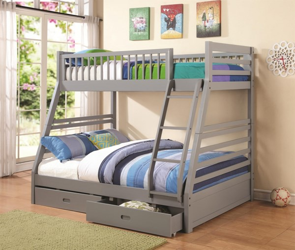 Cooper Transitional Grey Twin/Full Bunk Bed W/Underbed Drawers Storage CST-460182