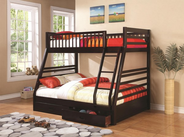 Cooper Cappuccino Twin/Full Bunk Bed W/Underbed Drawers Storage CST-460184