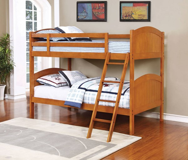 Cinnamon Wood Ladder Twin/Twin Bunk Bed CST-460203