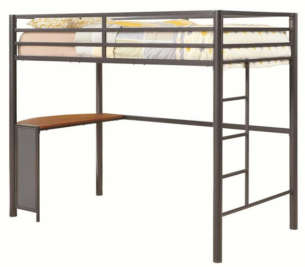Casual Gunmetal Metal Twin Workstation Bed CST-460229