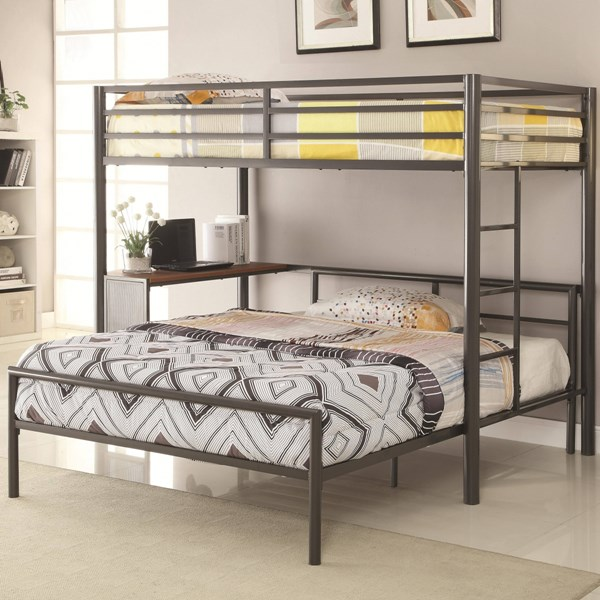 Casual Gunmetal Metal Twin Workstation Bed w/Twin Bed CST-460229-F-BED
