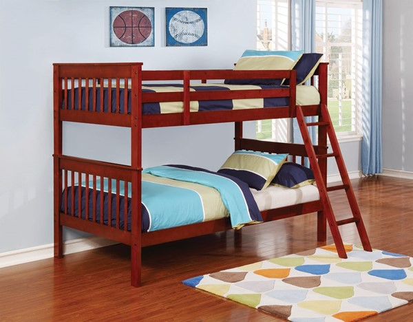 Coaster Furniture Parker Chestnut Wood Twin Over Twin Bunk Bed CST-460231
