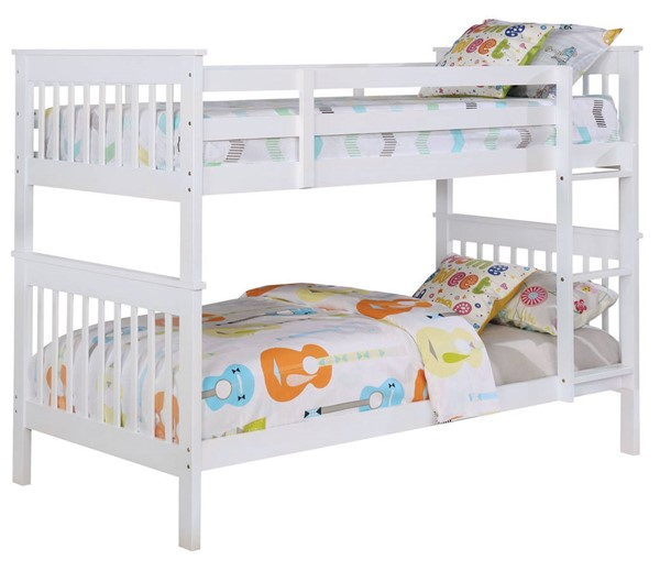 Coaster Furniture Chapman White Twin Over Twin Bunk Bed CST-460244N