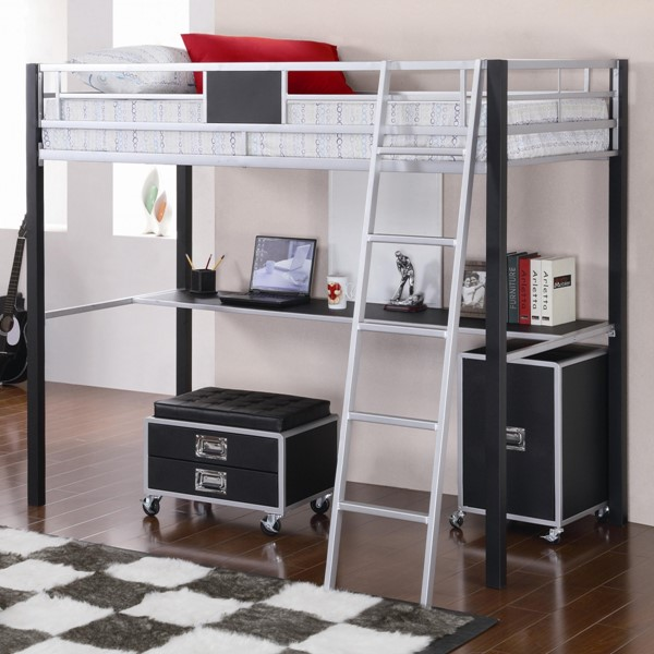 Contemporary Black Silver Metal Twin Size Loft Bed CST-460281