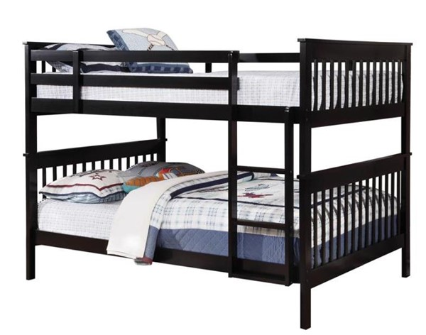 Coaster Furniture Black Wood Attached Ladder Full Over Full Bunk Bed CST-460359