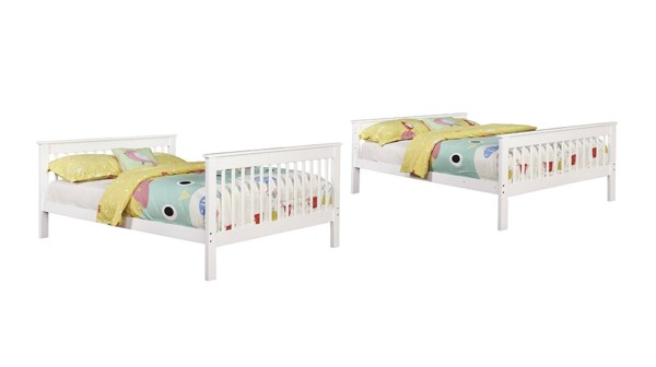 Coaster Furniture White Full Over Full Bunk Bed with Attached Ladder CST-460360
