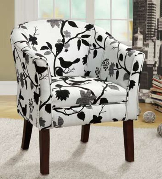 Cappuccino wood Black White Fabric Cushion Back Accent Chair CST-460406