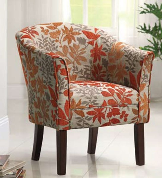Beige Red Orange Fabric Cushion Back Accent Chair CST-460407