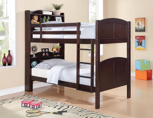 Parker Contemporary Cappuccino Twin/Twin Bookcase Bunk Bed CST-460442