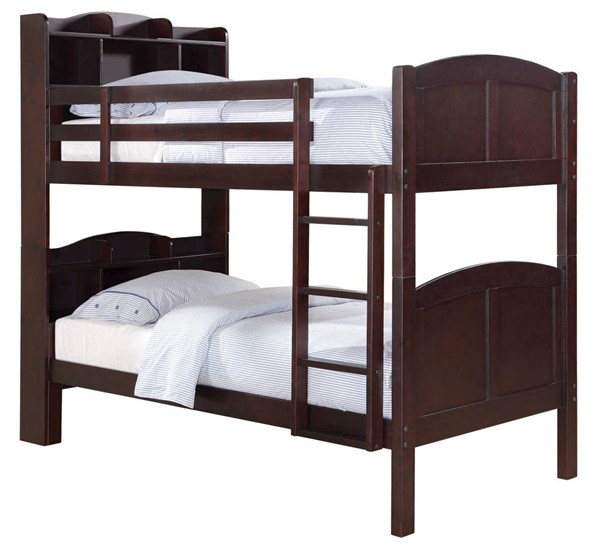 Coaster Furniture Parker Cappuccino Twin Over Twin Bookcase Bunk Bed CST-460442