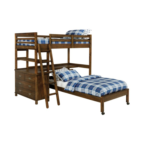 Coaster Furniture Bernhardt Workstation Brown Twin Over Twin Bunk Bed CST-460575
